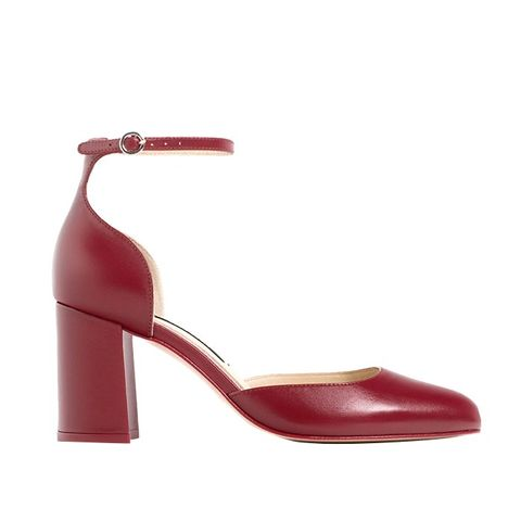 Mid Heel Leather Shoes With Ankle Strap