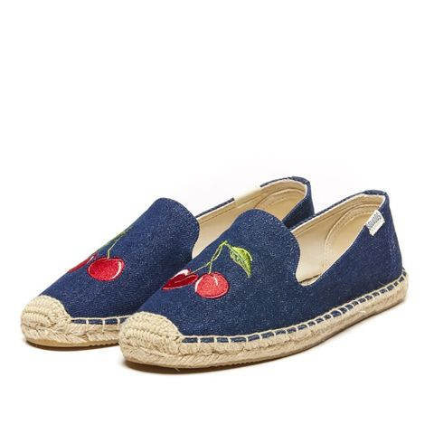 Smoking Slipper Embroidery Cherry Dark Denim