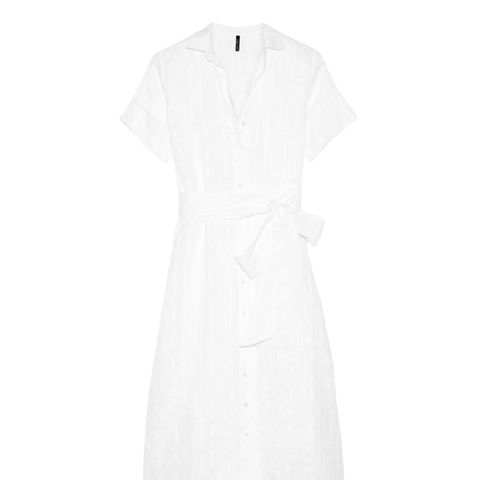 Cotton and Linen-blend Striped Gauze Shirt Dress