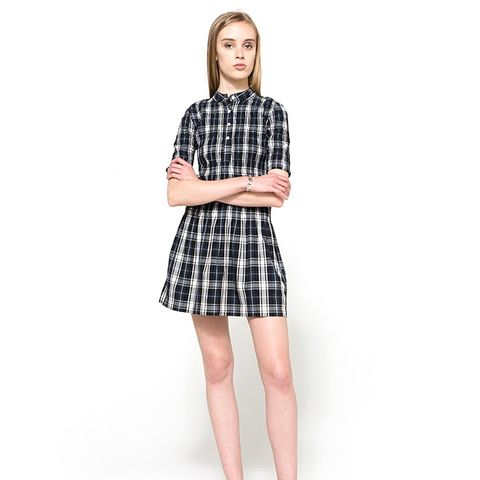 Kaori Check Shirt Dress