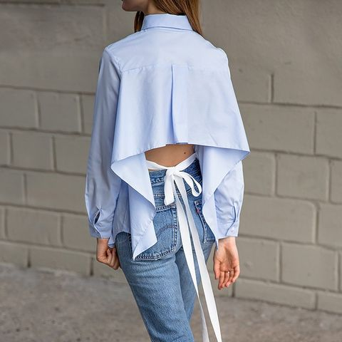 Blue Tie Back Shirt