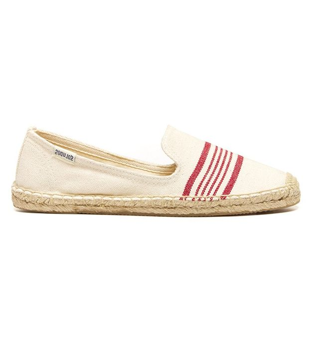 Soludos Natural Red Canvas Smoking Slippers