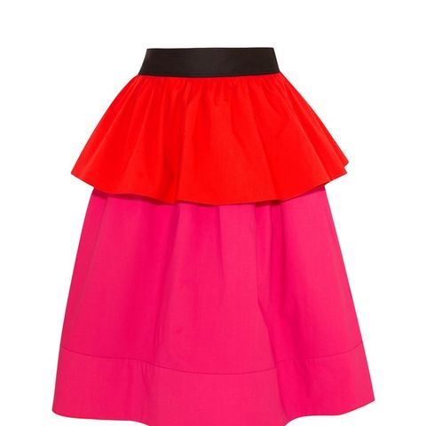 Ruffled Color-Block Stretch-Cotton Poplin Skirt