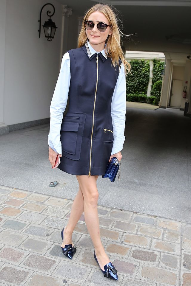 Feeling a little worse for wear after last night? You'd never know it in this stylishly structured outfit. Olivia's kept the business aspect of this look with her embellished-collar shirtbut...