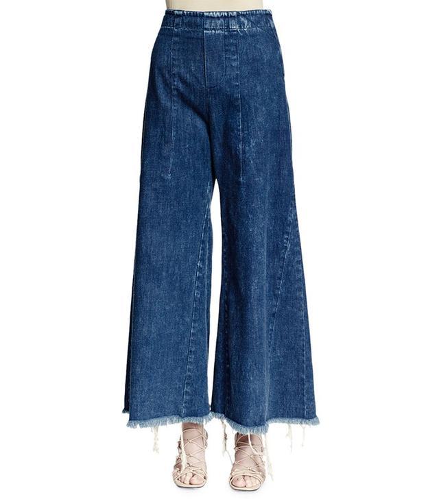 Chloé Wide-Leg Raw-Hem Cropped Jeans