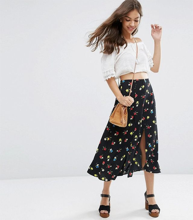ASOS Midi Skirt With Splices in Floral Print