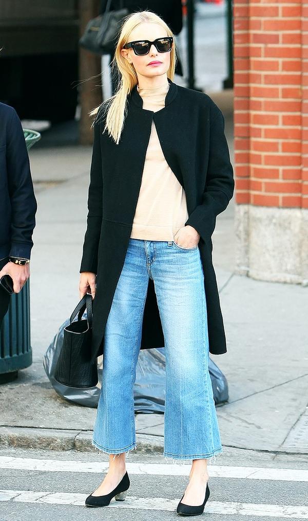 On Kate Bosworth: Joe's Jeans The Gaucho in Jan ($189); Meli Melo Rosalia Mini Black Bag ($492); Rag & Bone Marina Coat in Black ($795); Nicholas Kirkwood Briona Pumps ($595).