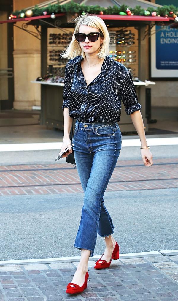 On Emma Roberts: Mother Insider Crop Step Fray ($228); Topshop shoes.