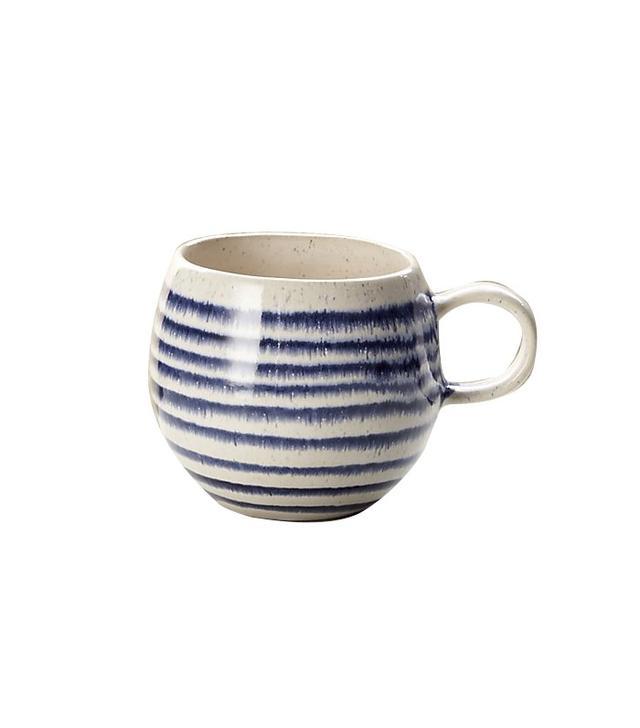 Crate and Barrel Lina Blue Stripe Coffee Mug