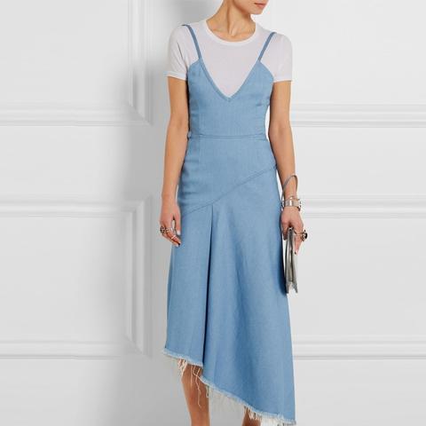 Asymmetric Frayed Denim Dress