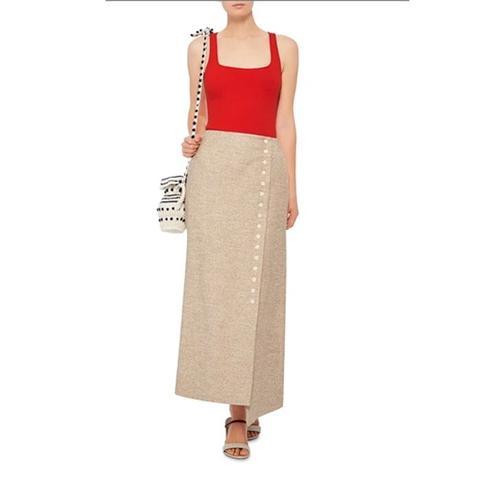 Blended Linen Wrap Snap Midi Skirt