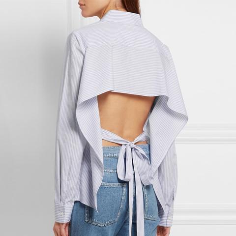 Open-Back Striped Cotton-Poplin Shirt