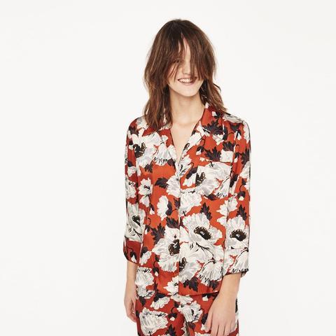 Printed Pajama Style Blouse