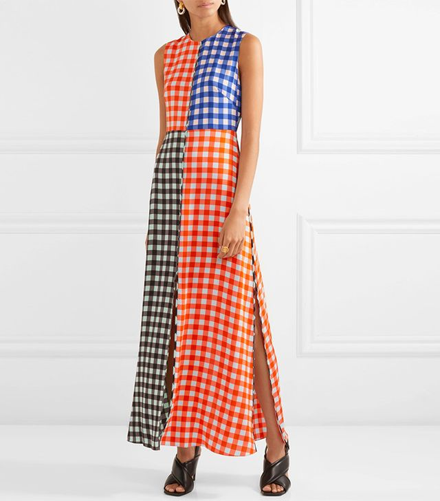 Gingham Stretch-silk Maxi Dress