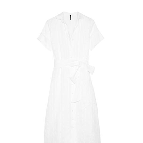 Cotton and Linen-Blend Striped Gauze Shirt Dress