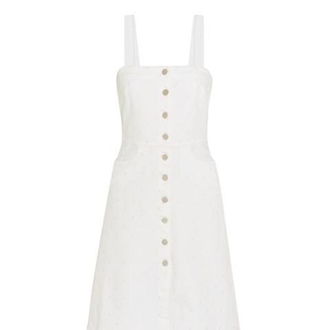 Linda Embroidered Stretch-Denim Dress