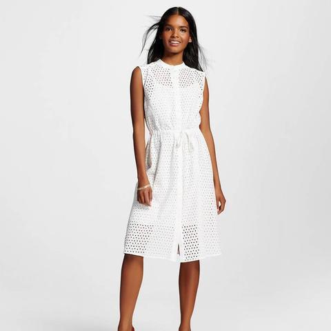 Eyelet Drawstring Dress