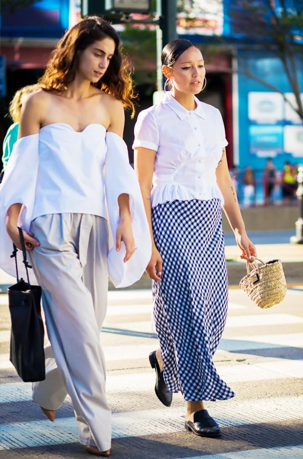 Style Tip: Wear a reworked white shirt with a gingham skirt for the ultimate summer ensemble.