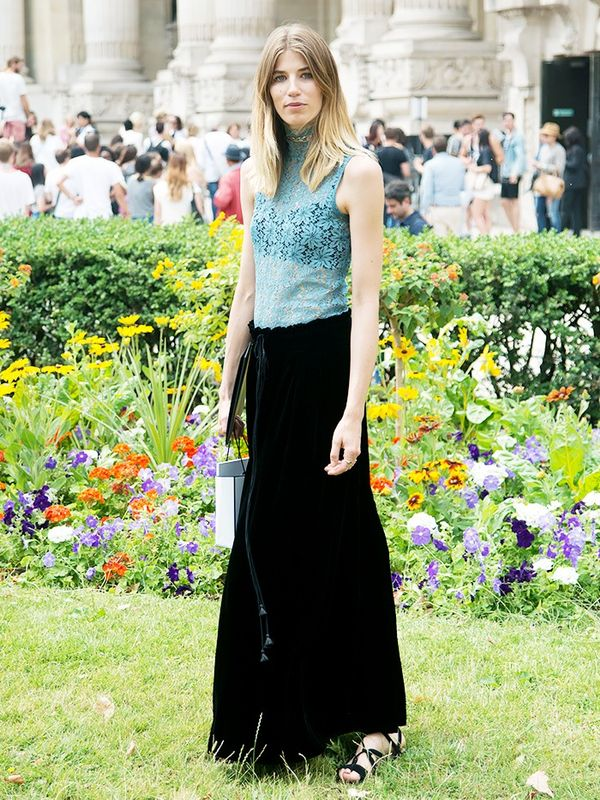 WHO:Veronika Heilbrunner Style Tip:Tucka high-neck lace tank into a noirmaxi skirt.