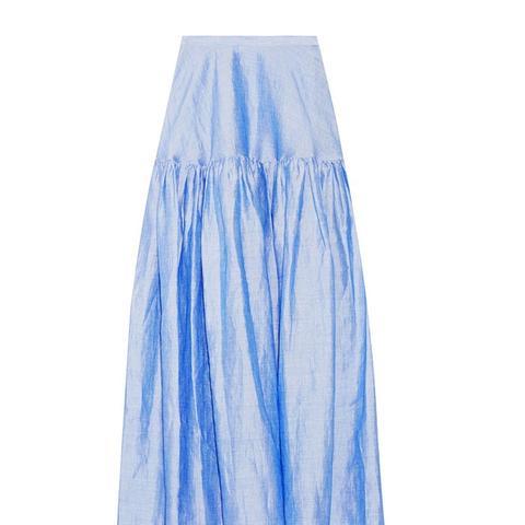 Ramie-Blend Maxi Skirt