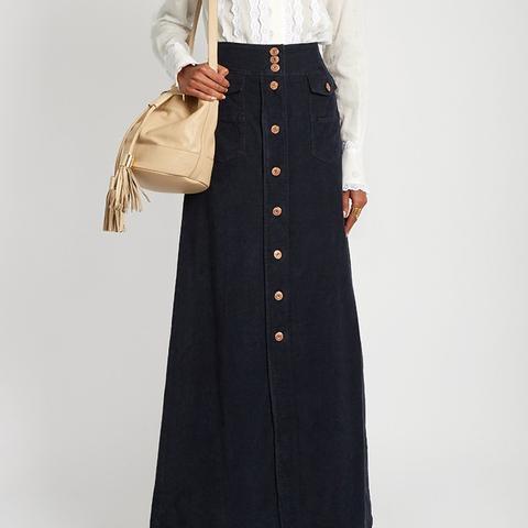 Floor-Length Corduroy Skirt