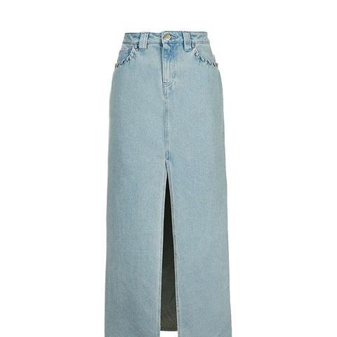 Unique Caius Denim Maxi Skirt