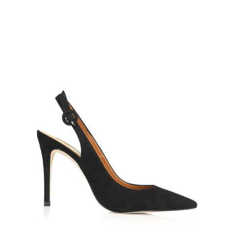 Gold Slingback Court Shoes