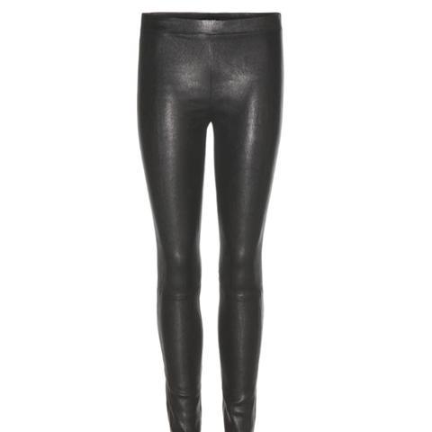 Mid-Rise Leather Leggings