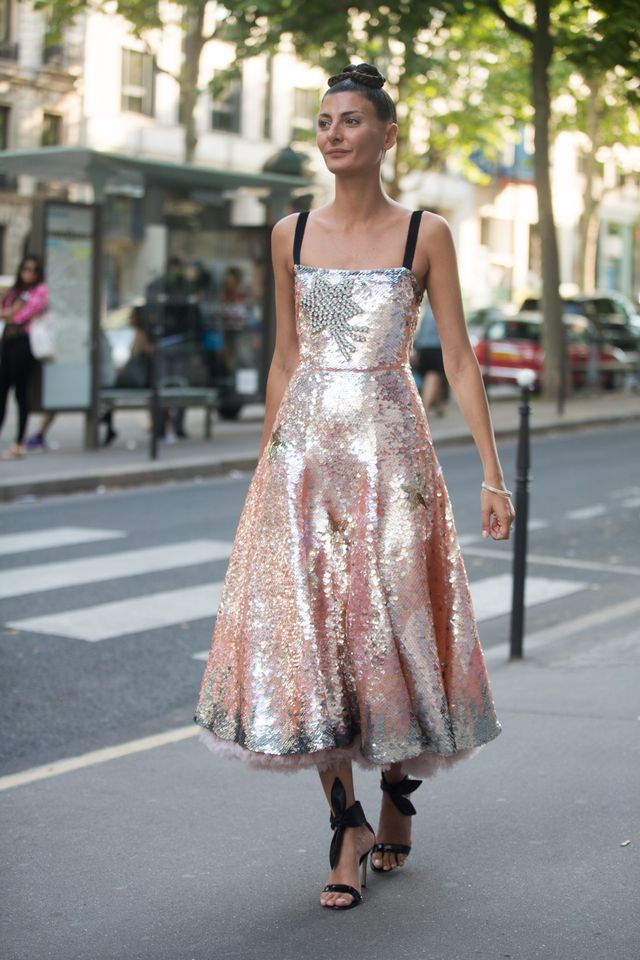 Nothing says European glamour like a stylish smattering of sequins. While we love everything about Giovanna Battaglia's metallic midi, it's a little tricky to pull off day-to-day. Try...