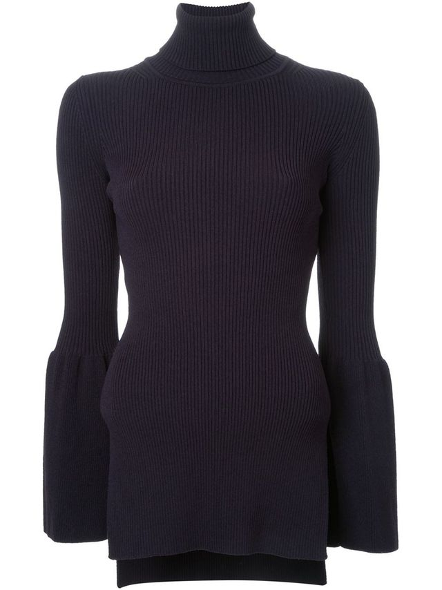 Scanlan Theodore Crepe Knit Flared Sleeve Sweater
