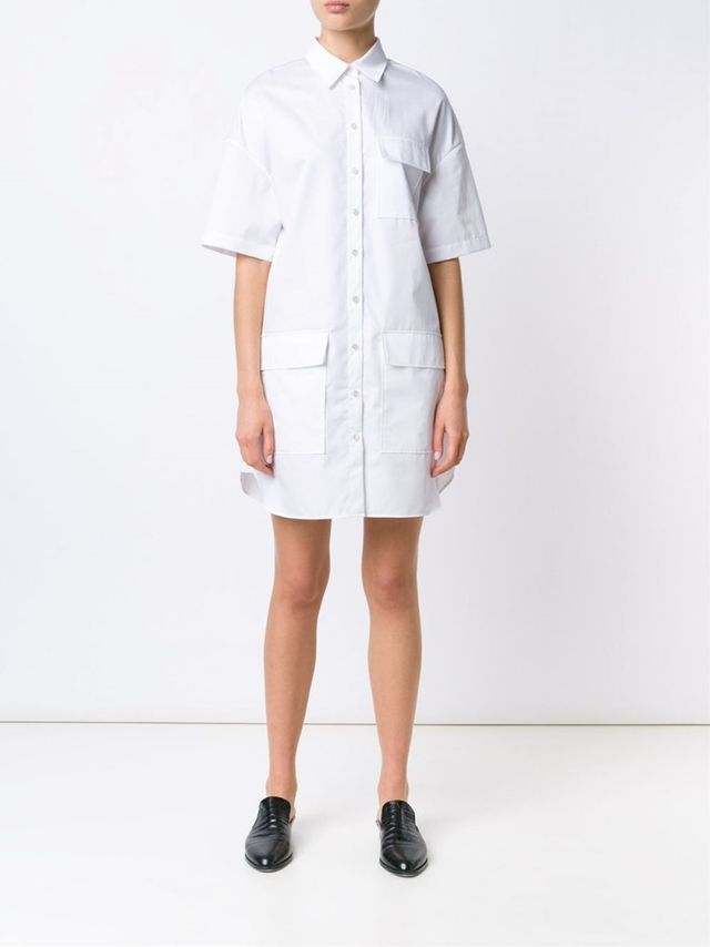 Grey Jason Wu Relaxed Cotton Shirting Shirt Dress