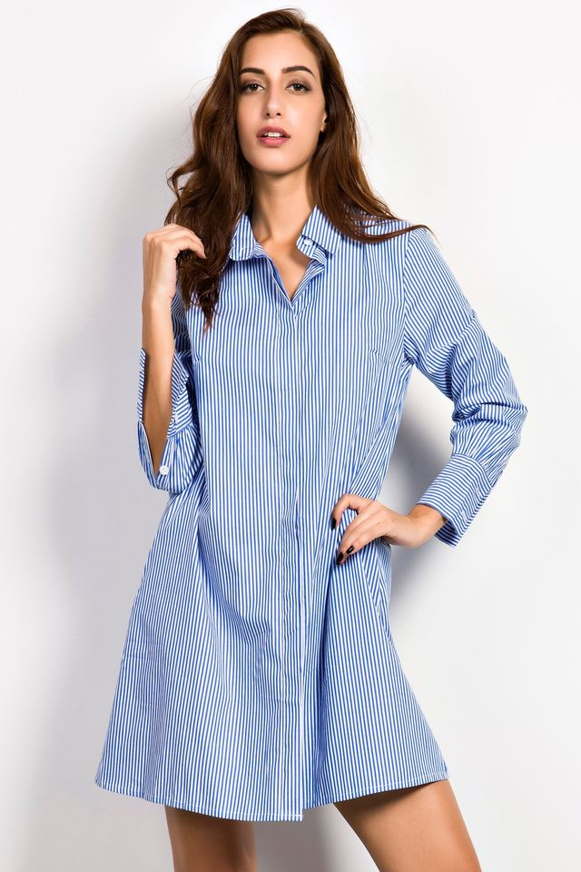 Oasap Casual Blue White Stripe Shirt Dress