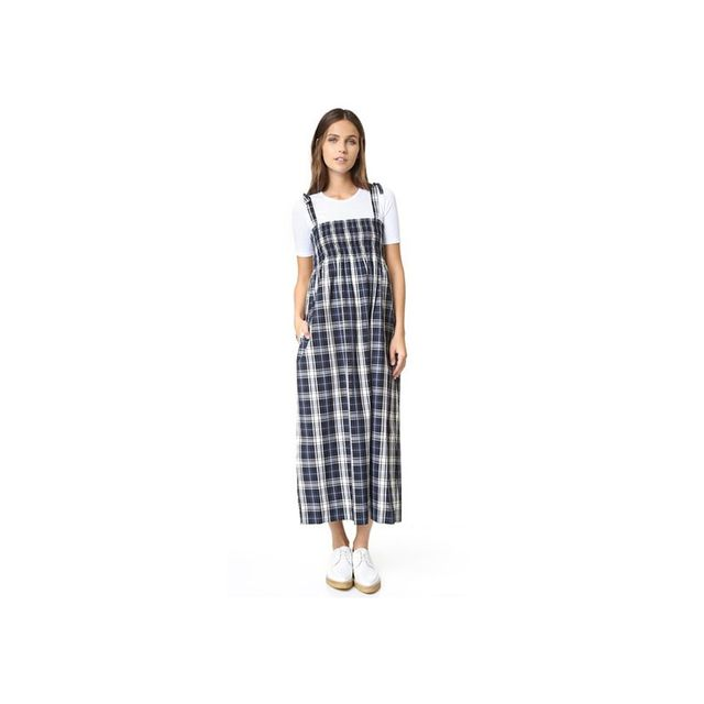Ganni Plaid Puckered Dress