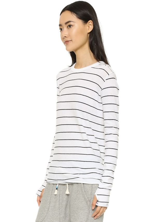 Enza Costa Stripe Crew Neck Top