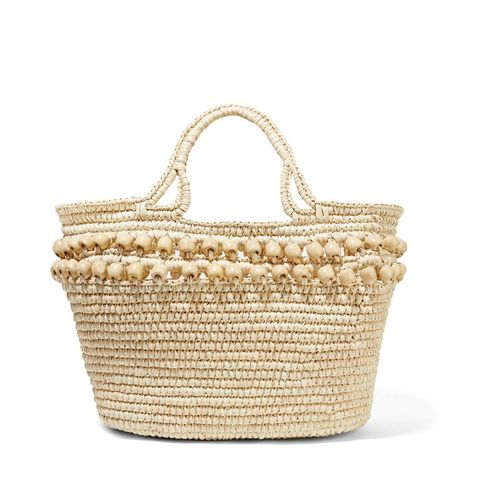 Wood Bead-embellished Woven Toquilla Straw Tote