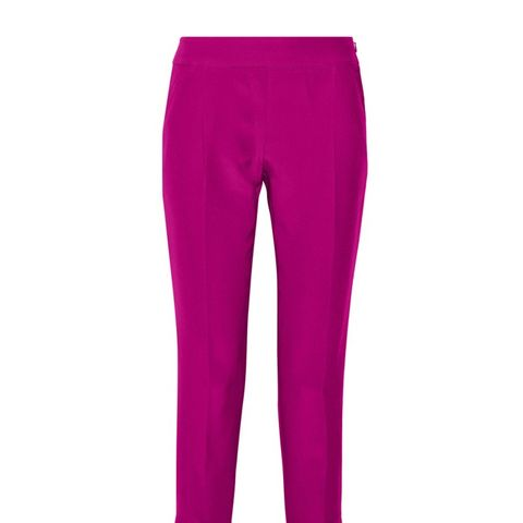 Cropped Silk and Cotton-Blend Twill Tapered Pants