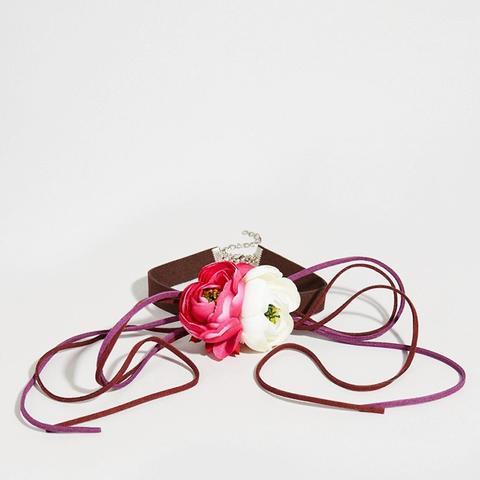 Floral Corsage Choker Necklace