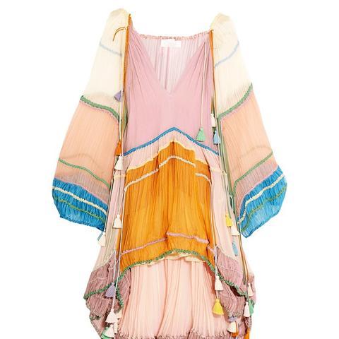 Tasseled Silk-Crepon Mini Dress