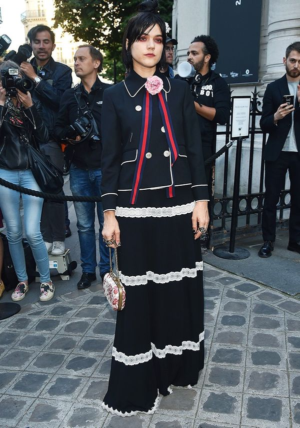Style Notes: For a Vogue Paris event, SoKo once again represented Gucci's mix-and-match aesthetic.