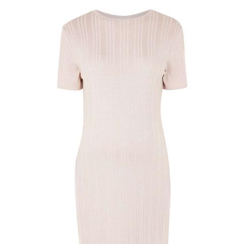 Ribbed Split Maternity Midi Dress