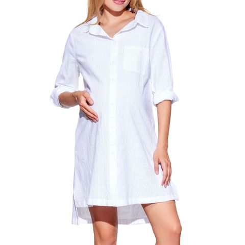 High/Low Maternity Shirtdress