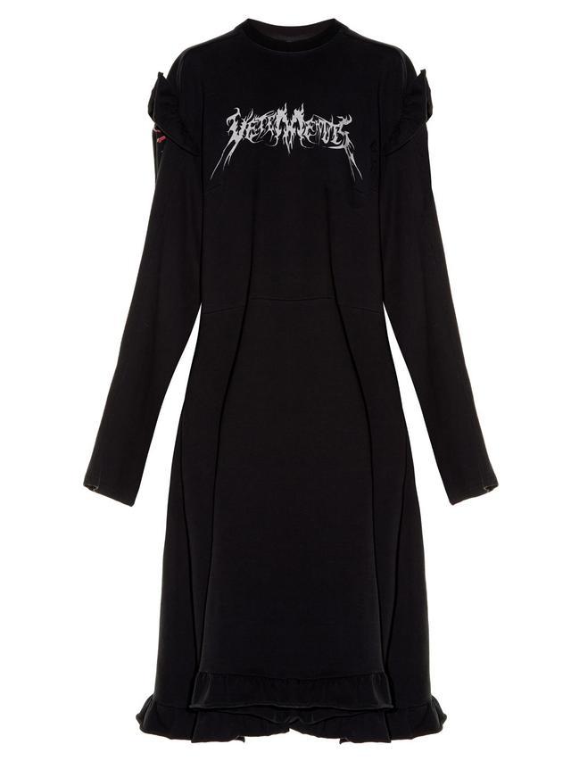 Vetements Ruffled-Shoulder Sweat Dress