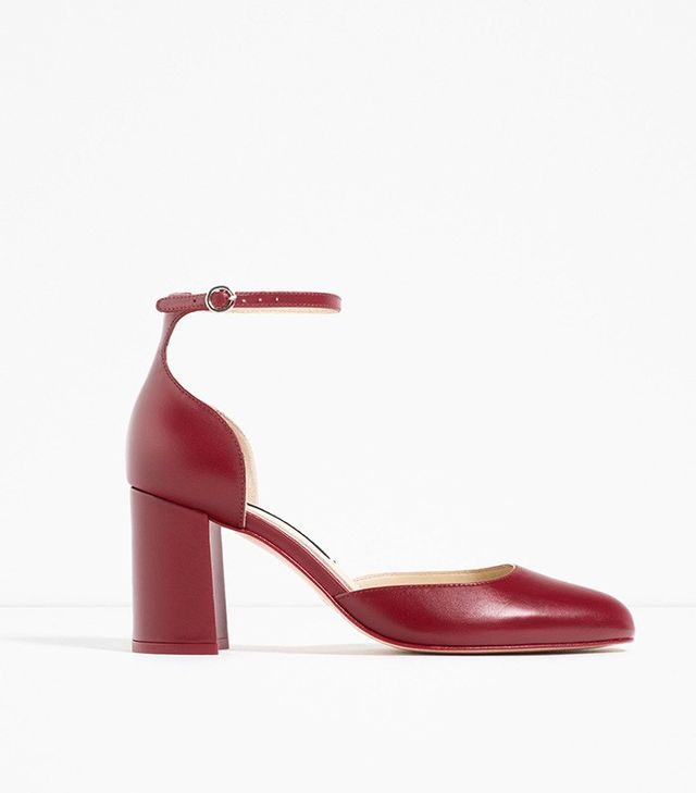 Zara Mid-Heel Leather Shoes With Ankle Strap