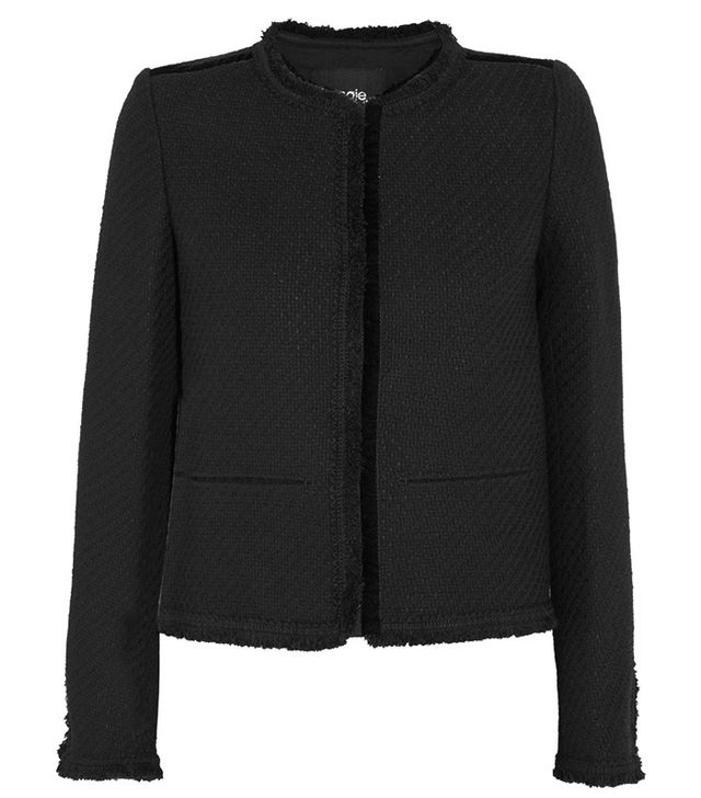 Maje Fringed Bouclé-Tweed Jacket