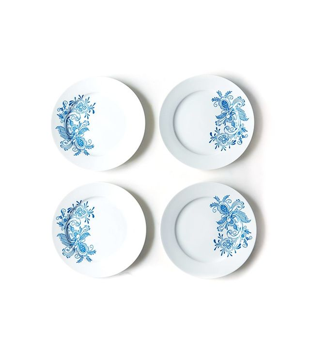 Swedish Country Interiors Blue Rosemaling Dessert Plates