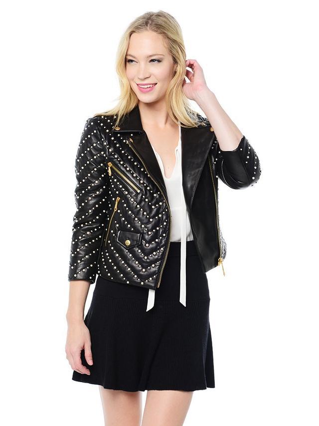 Rebecca Minkoff Pearl Embellished Wes Moto Jacket