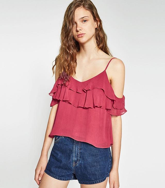Zara Off-the-Shoulder Frilled Top