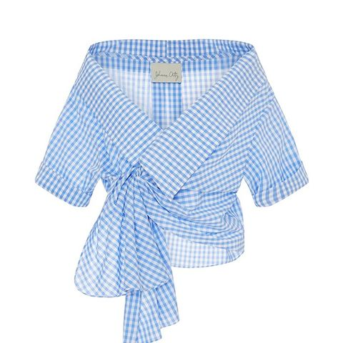 Cotton Gingham Daffodil Wrap Top