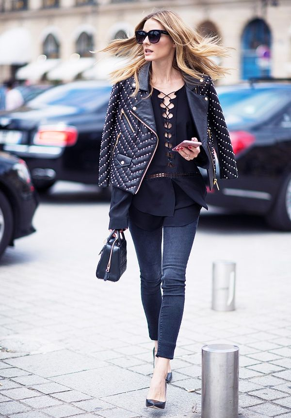 Leather Jacket + Detailed Top
