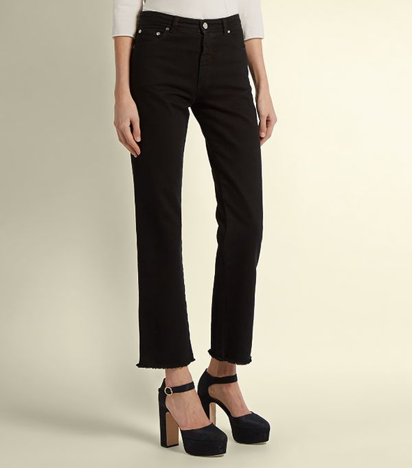 Frayed-hem high-rise cropped jeans